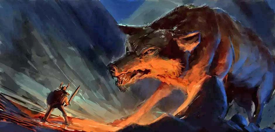 Чудовищный волк Фенрир - порождение аса Локи и великанши Ангрбоды