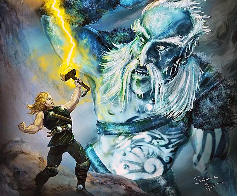 Бог грома Тор сражается с ледяным великаном - классический сюжет скандинавский преданий