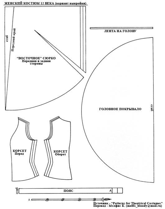 Блио.Женский костюм 12-13 веков