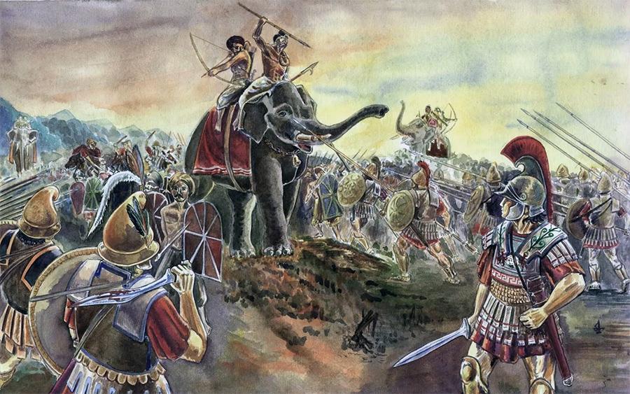 Сражение индусов и македонян вовремя похода Александра Македонского в Индию