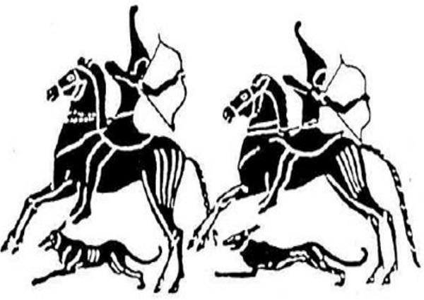 Древнее изображение лучников-киммерийцев