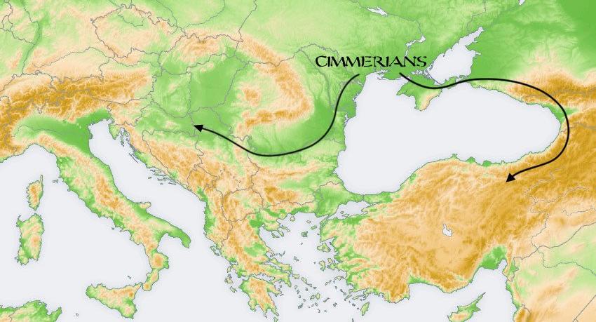 Предположительная схема расселения киммерийцев из районов северного Причерноморья, откуда их по-видимому согнали скифы