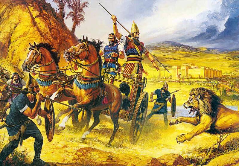 Ассирийский царь с колесницы охотится на львов
