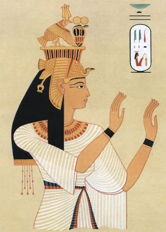 Образ знатной женщины Древнего Египта - наряд очень простой по крою, из тонкой, полупрозрачной ткани, облегающий фигуру