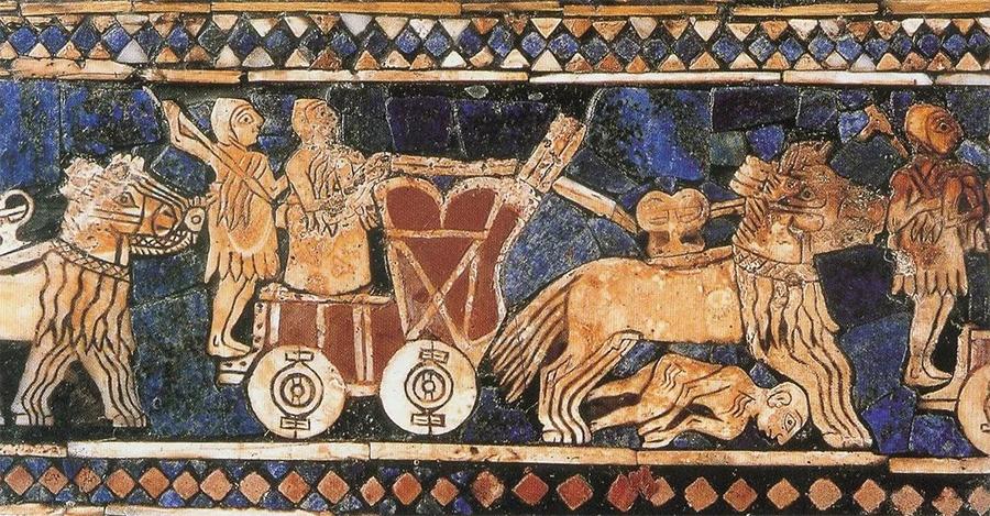 Образчик аккадского искусства. Сценка военного столкновения с участием боевых колесниц