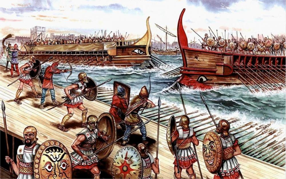 Морское сражение между флотами Карфагена и Рима во время Первой Пунической войны
