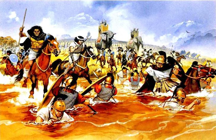 Сражение на реке Треббия в 218 г. до н.э., нумидийская конница преследует римских пехотинцев