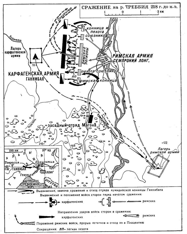 Общий ход сражения на реке Треббия в 218 г. до н.э. между армиями Карфагена (Ганнибал) и Рима (Семпроний Лонг)