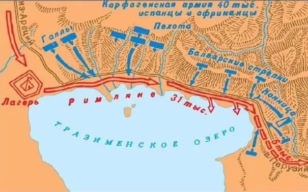 Схема разгрома римского войска у Тразименского озера в 217 г. до н. э.