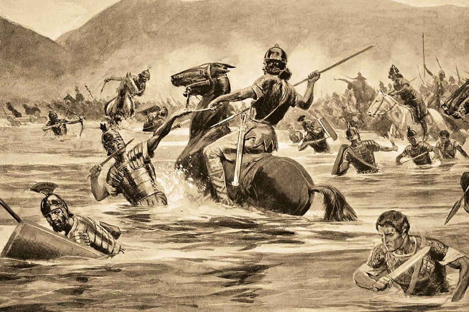 Конница преследует римлян Схема разгрома римского войска у Тразименского озера. Многие солдаты в тот день утонули, а не были убиты