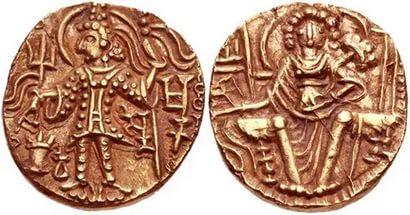 Монета времен правления кушанов в Индии