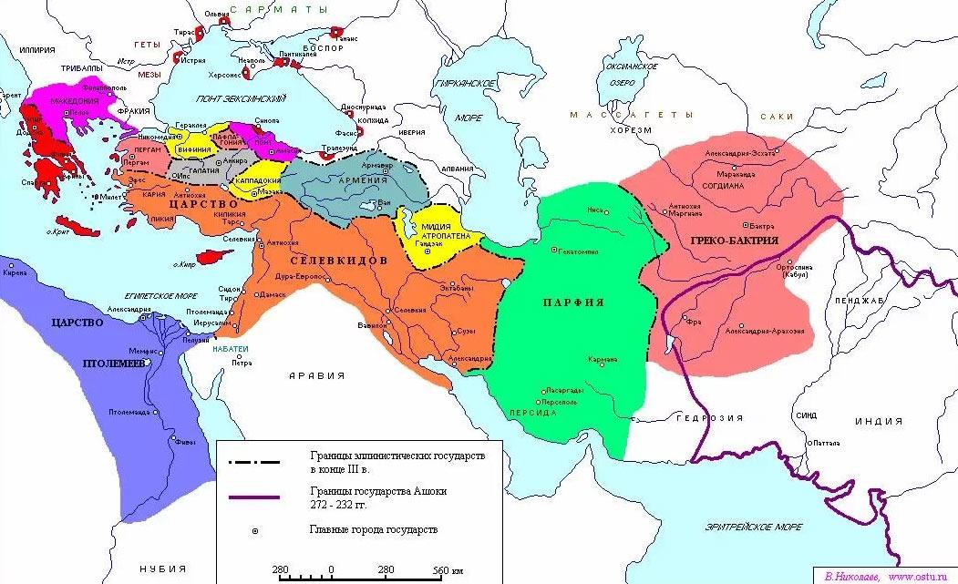 Раздел империи Александра Македонского между диадохами