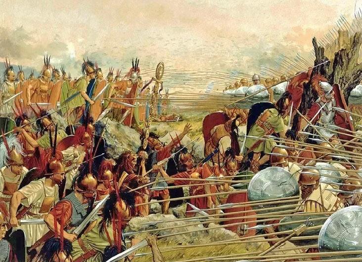 Сцена боя между римлянами и македонянами при Киноскефалах в 197 г до н.э., в представлении художника