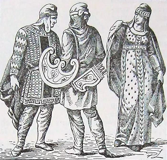 Фригийцы в национальных одеждах
