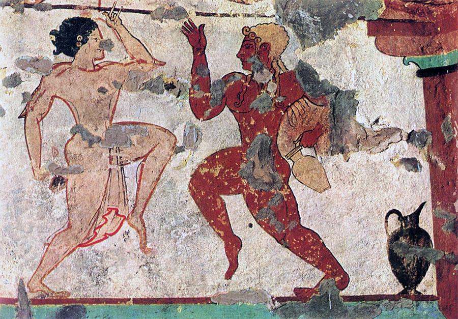 Образец искусство этрусков - фреска изображающая танцоров