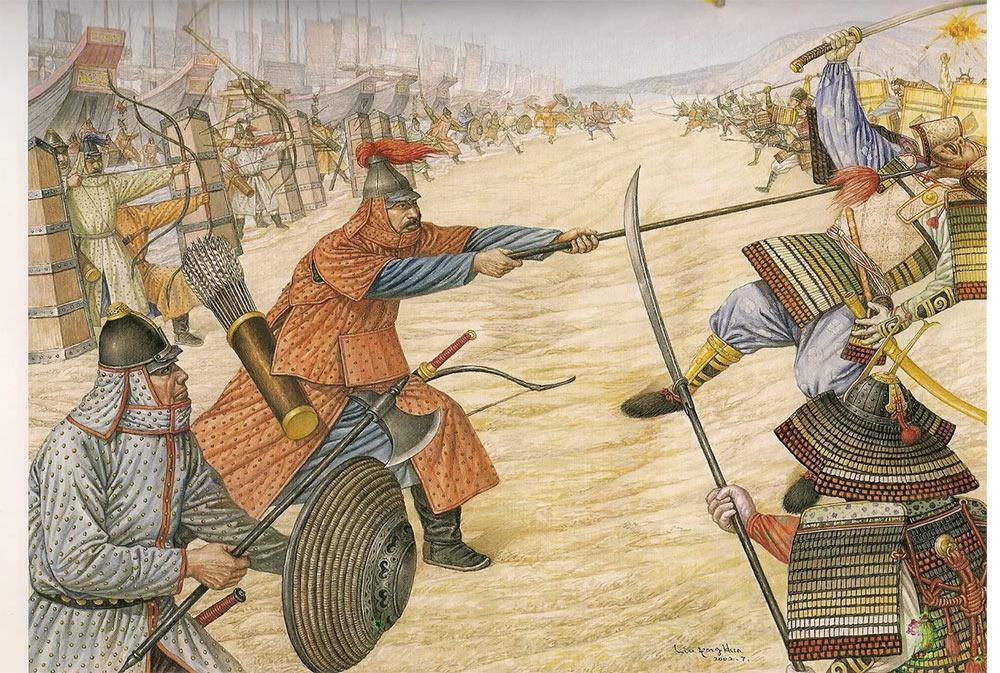 Сражение морского десанта монголов и японских самураев на побережье Японии