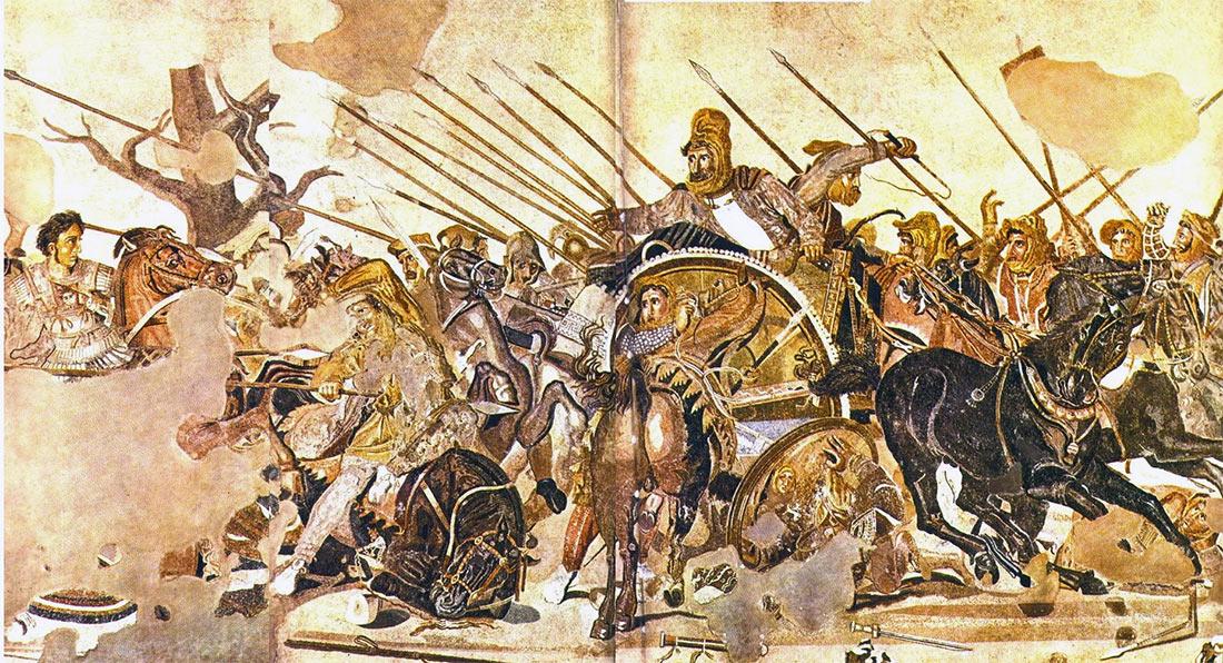 Победа Александра Македонского над Дарием III в битве при Гавгамелах, мозаика