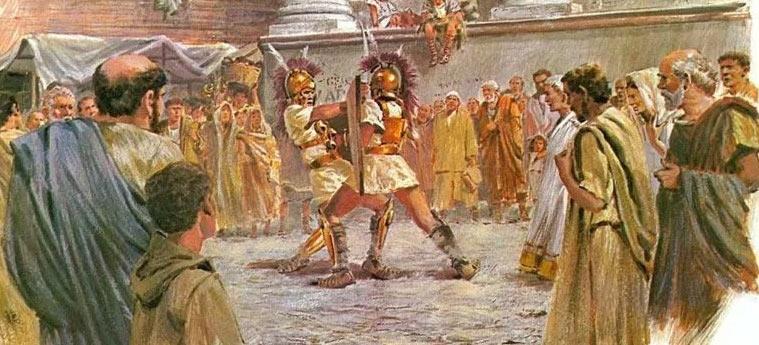Сражения гладиаторов первоначально были именно частью похоронного обряда - чтобы маны (духи мертвых) насытились кровью и были благосклонны