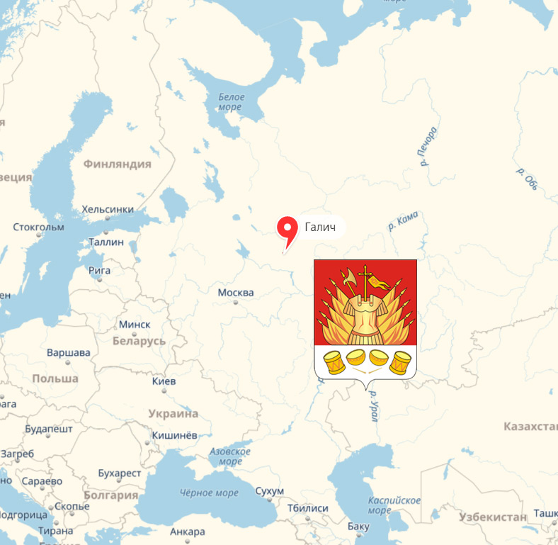 Герб и место расположения древнего города Галич Мерьский