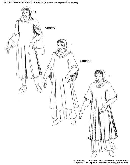 сюрко для мужского костюма 13 века