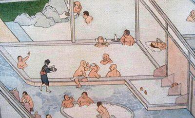 Японские общественные бани в средневековье выглядели примерно так
