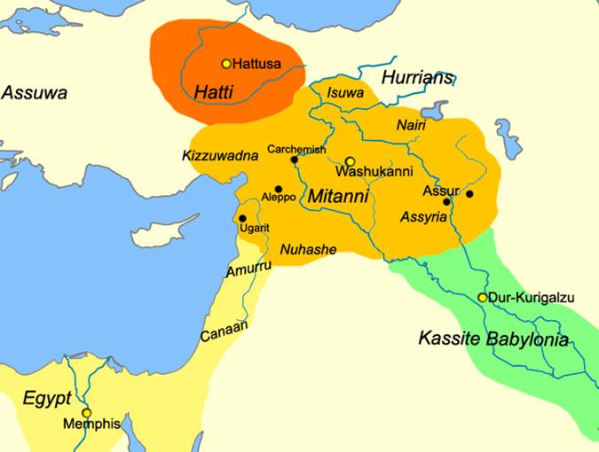 Предположительные границы царства Митанни