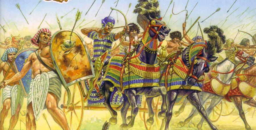 Фараон на боевой колеснице в бою