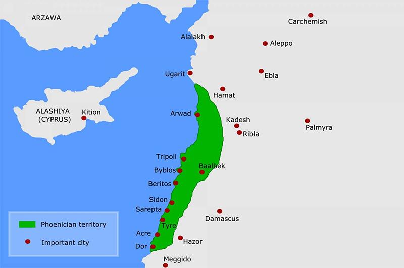 Древняя Финикия занимала область нынешних государств Ливана, Израиля и Сирии.