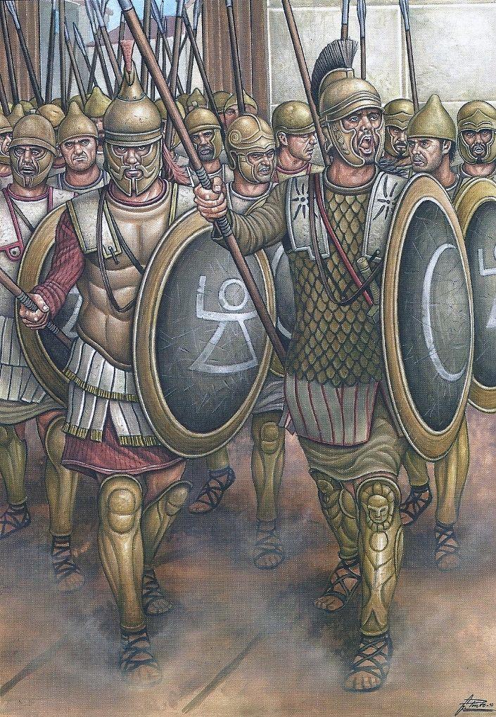 Воины Карфагена. Не смотря на то, что карфагеняне по происхождению были скорее финикийцами, а жили в Африке, их вооружение и методы ведения войны были ближе к эллинистическим