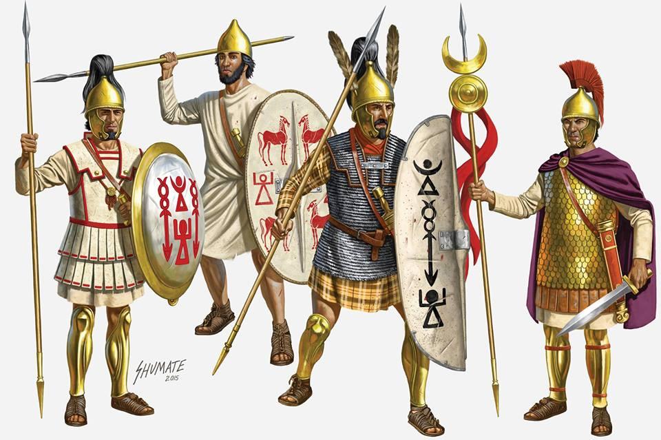Пехотинцы армии Карфагена времен пунических воин - хорошо заметно смешение эллинистического и римского стилей