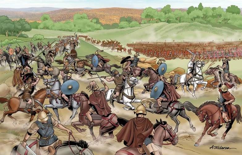 Конница Карфагена рассеяла конницу римлян и вышла в тыл римской пехоте