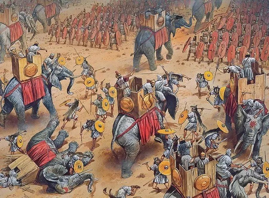 Сцена начального этапа сражения при Заме (202 г. до н.э.) между Карфагеном и Римом