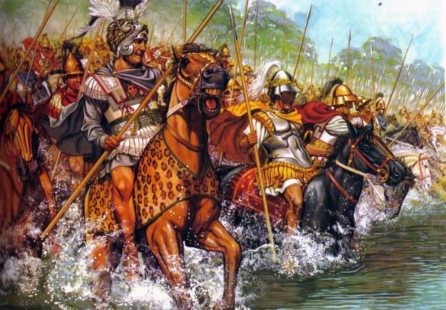Александр Македонский и его гвардия форсирует реку Граник