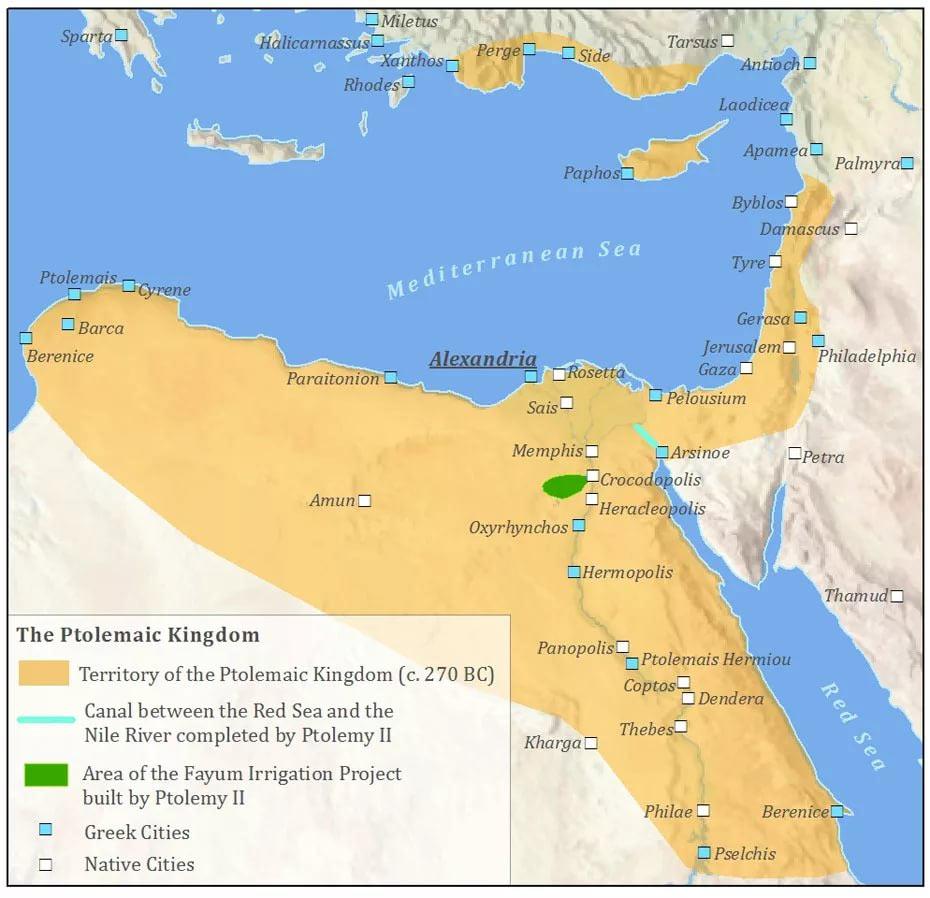 Птолемеевский Египет - как видно из карты, Птолемею и его наследникам достался один из самых жирных кусков от империи Александра Македонского