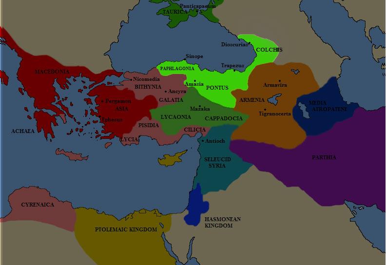 Карта Понтийского царства в III веке до н.э. (севернее, в районе Крыма - Боспорское царство, в то время - часть Понта)