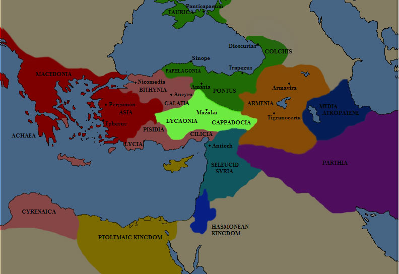 Карта Каппадокии в III веке до н.э.