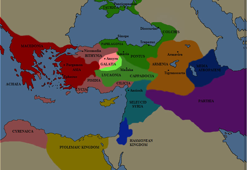 Карта Галатии в III веке до н.э.
