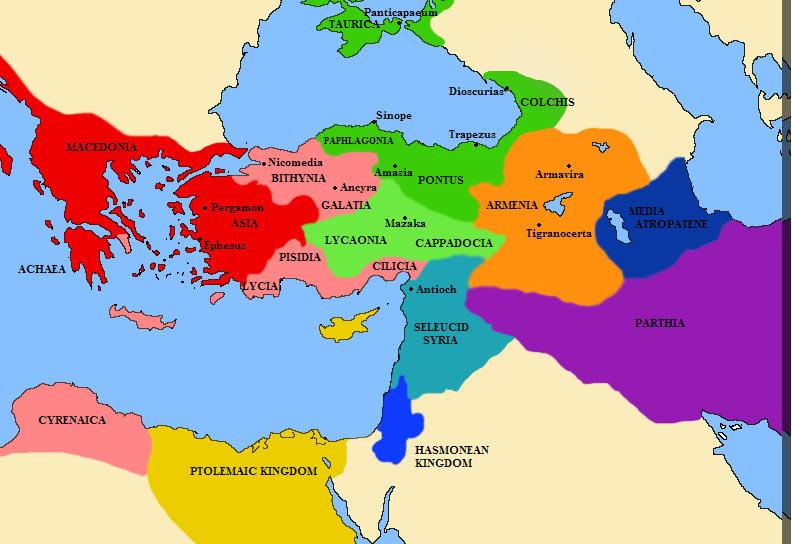 Карта эллинистических государств Малой Азии (территория современной Турции) в  III веке до нашей эры