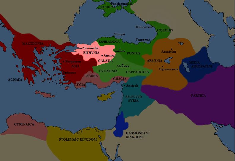 Карта Вифинии в III веке до н.э.
