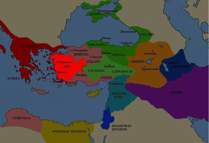 Карта Пергамского царства в III веке до н.э.