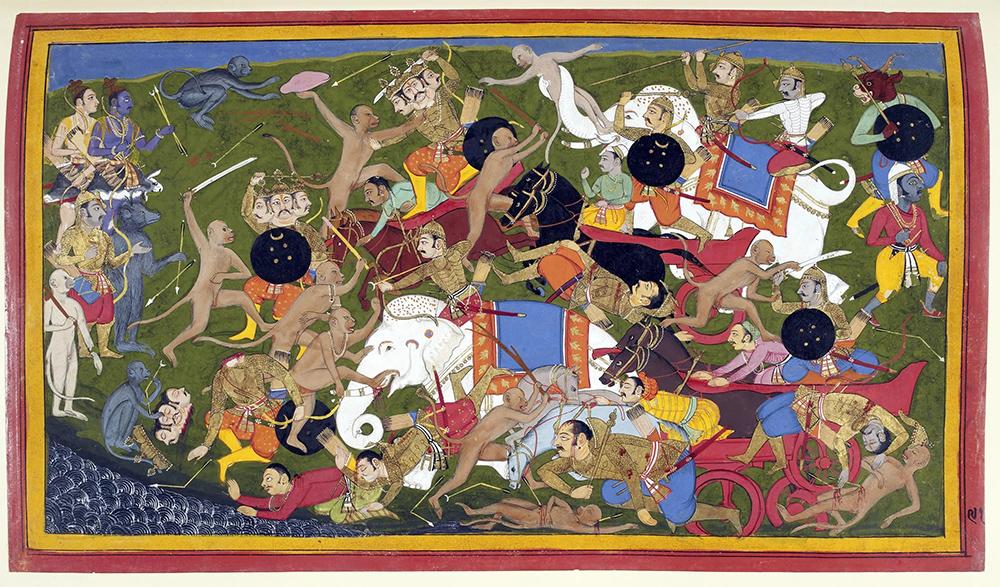 Одна из сцен классического индийского эпоса - война с обезьянами под предводительством обезьяньего царя  Ханумана