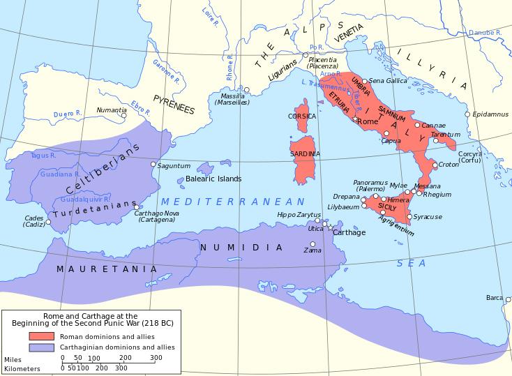 Фиолетовым цветом на карте помечены владения Карфагена накануне похода Ганнибала (Второй Пунической войны), красным - владения Рима