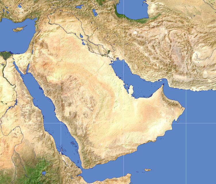 Общий вид Аравийского полуострова из космоса. Как видно, по большей части это весьма негостеприимная земля с исключительно суровым жарким климатом