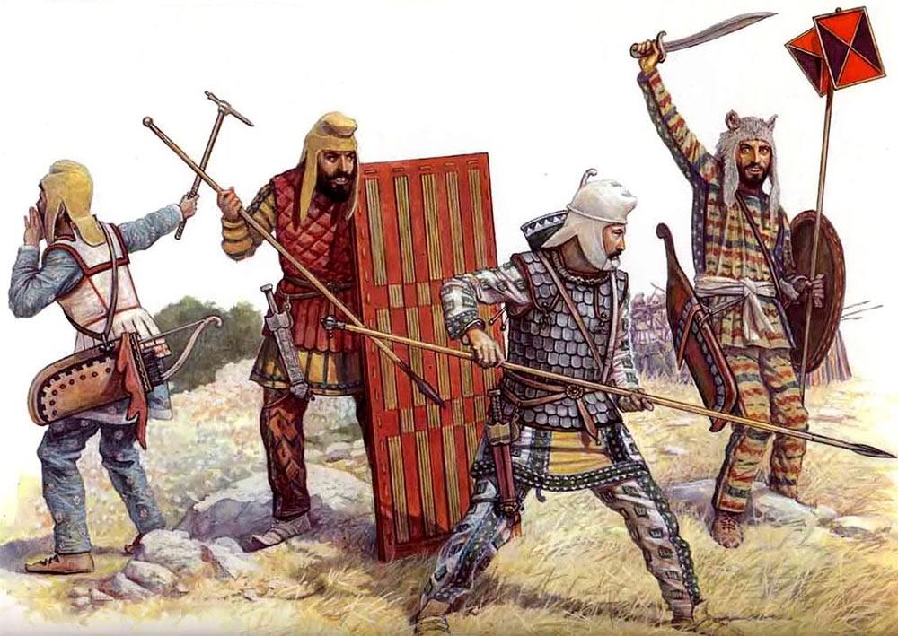 Персидская пехота - легкий пехотинец с топором-клевцом, «линейная пехота», тяжелый пехотинец и знаменосец