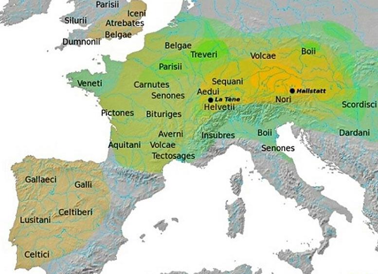 Карта расселения европейских племен в начале железного века