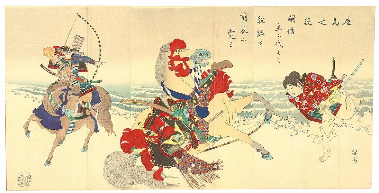 Сражение между кланами Тайра и Минамото (Тайра справа, Минамото слева)