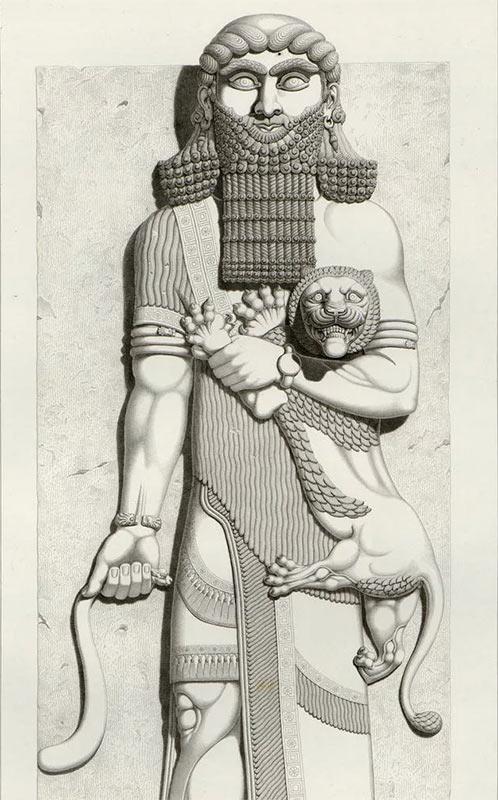 Гильгамеш с львенком - рисунок со скульптуры