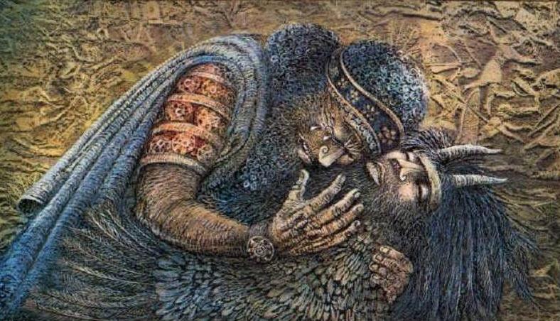 Гильгамеш оплакивает гибель своего друга Энкиду