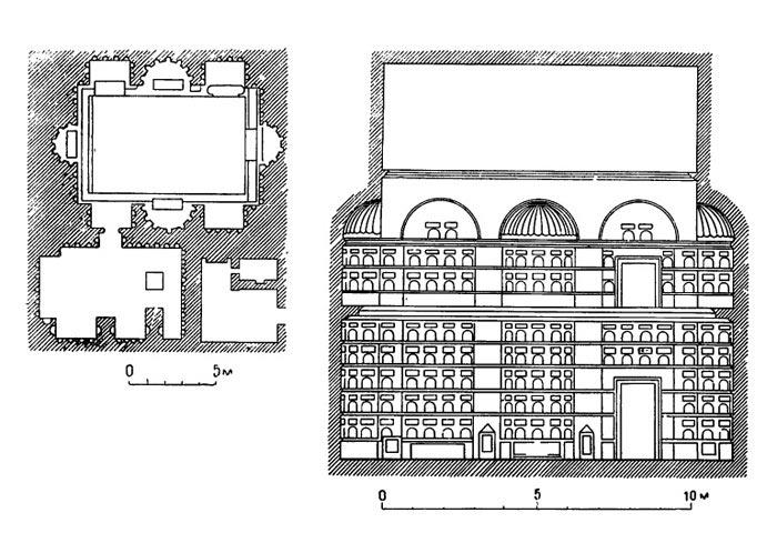 План помещений колумбария для вольноотпущенников Августа, I век.